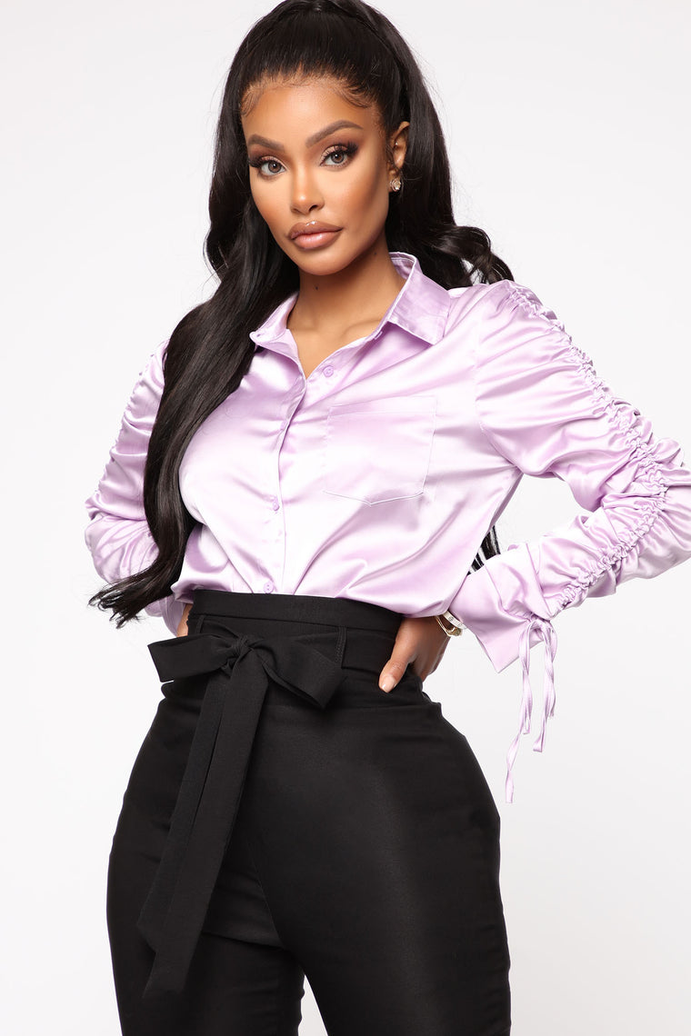 Meet You In The Office Satin Shirt   Lavender by Fashion Nova