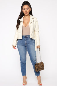 Can't Stop Me Now PU Leather Jacket - Ivory Angle 2