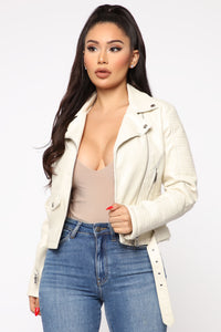 Can't Stop Me Now PU Leather Jacket - Ivory Angle 1