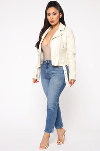 Can't Stop Me Now PU Leather Jacket - Ivory Angle 4