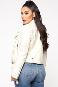 Can't Stop Me Now PU Leather Jacket - Ivory Angle 3