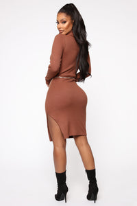 Move The Chains Sweater Midi Dress - Brown