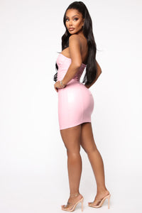 Endless Dream PU Mini Dress - Pink Angle 3