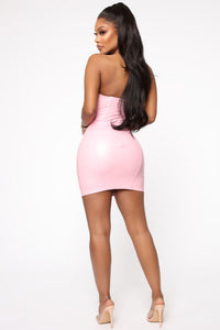 Endless Dream PU Mini Dress - Pink Angle 4