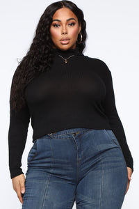 Actin' This Way Turtleneck Top - Black