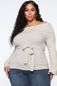Delicate Lady Off Shoulder Sweater - Heather Oatmeal