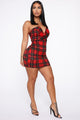 Plaid You Later Mini Dress - Red