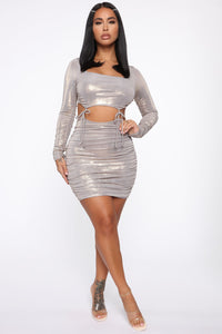 Been About Me Metallic Mini Dress - Grey/Gold