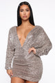 My Innocent Look Sequin Mini Dress - Coco/Silver
