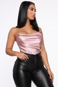 Dates With Him Satin Bustier - Pink