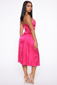 Only A Favor Satin Slip Midi Dress - Hot Pink