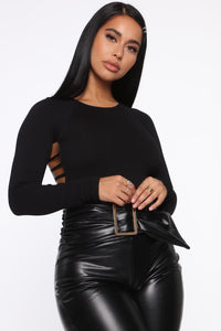 A Night With You Seamless Long Sleeve Bodysuit - Black
