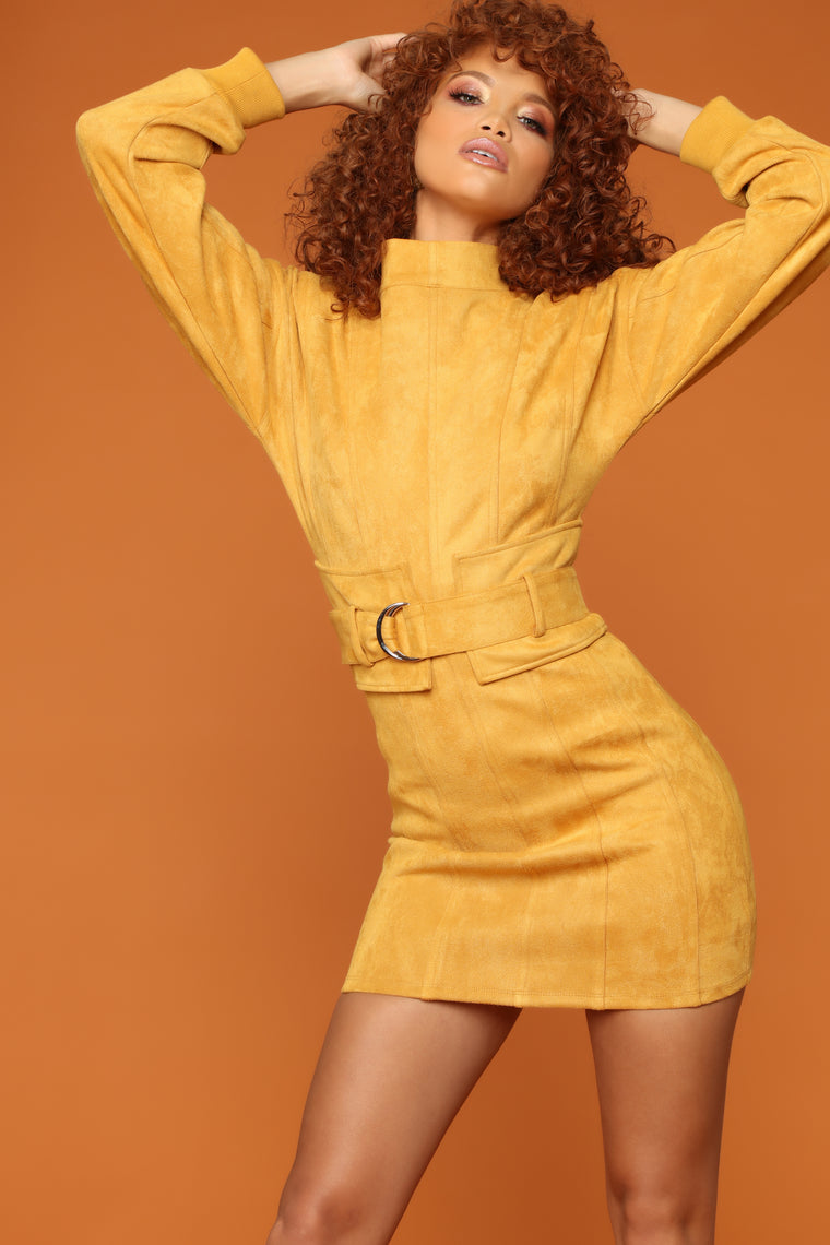 Boujiee Bad And Thick Dress - Mustard