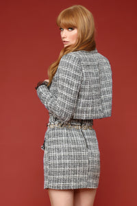 Check The Resume Tweed Matching Set - Black/White