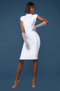 Straight Stuntin' Midi Dress - White