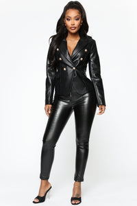 Counting Paper Faux Leather Blazer - Black Angle 2