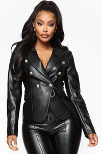 Counting Paper Faux Leather Blazer - Black Angle 1