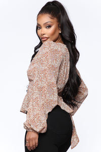 Always There Floral Blouse - Mocha/combo