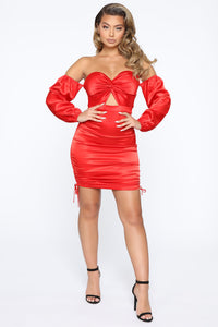 By The Books Satin Mini Dress - Red
