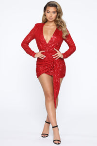 Center Stage Sequin Mini Dress - Red Angle 3