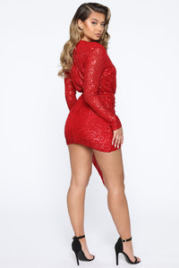 Center Stage Sequin Mini Dress - Red Angle 5