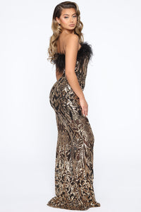 Eyes On Me Sequin Maxi Dress - Black/Gold