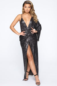 Best Appearance Maxi Sequin Dress - Charcoal