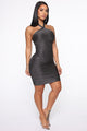 Holding You Close Bandage Mini Dress - Silver/Black