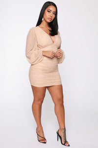 Just Like Me Mesh Ruched Mini Dress - Taupe