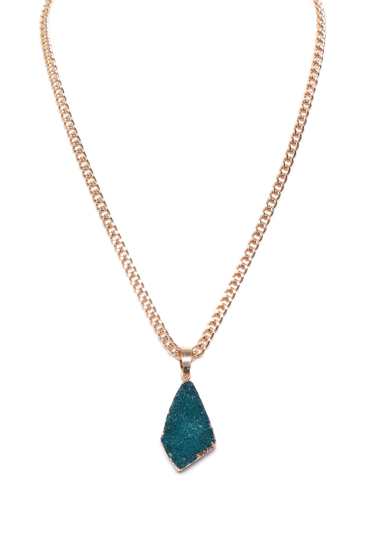 Druzy Crystal Pendant Necklace - Gold/Green