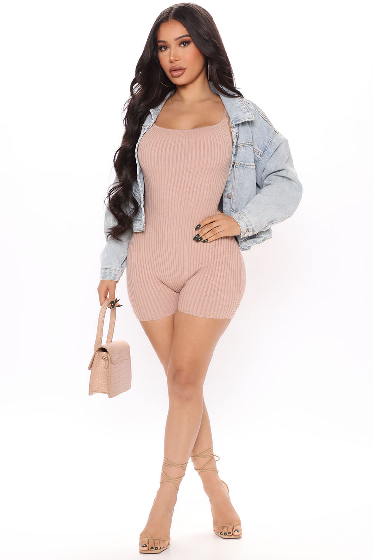 Live To Lounge Rib Romper - Taupe