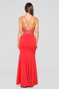Issa Celebration Embroidered Gown - Red