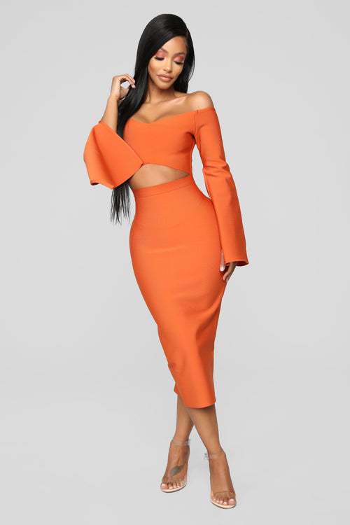 Lets Take Things Slow Bandage Dress - Rust
