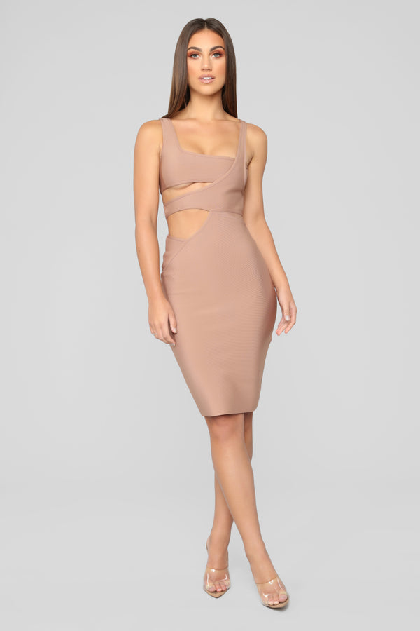 ab66bd1904f More Money Honey Bandage Dress - Taupe