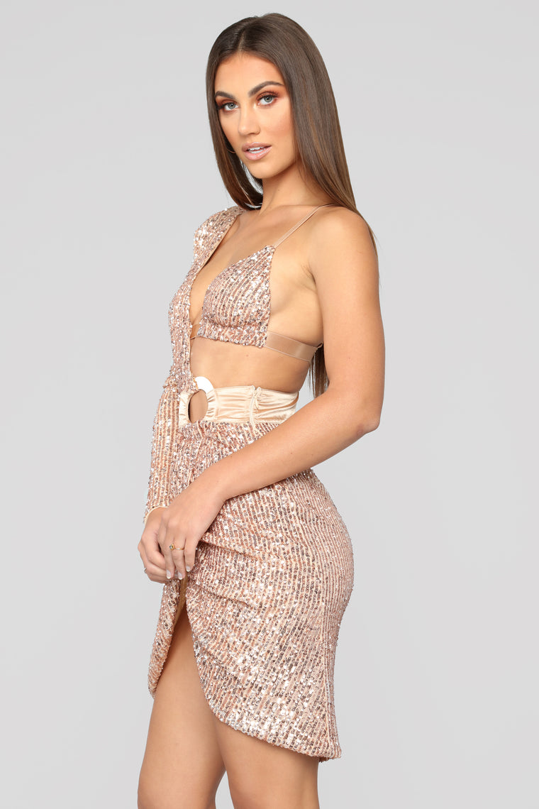 Epic Nights Sequin Dress - Rosegold