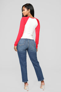 Love Me Not Distressed High Rise Jeans - Dark Denim