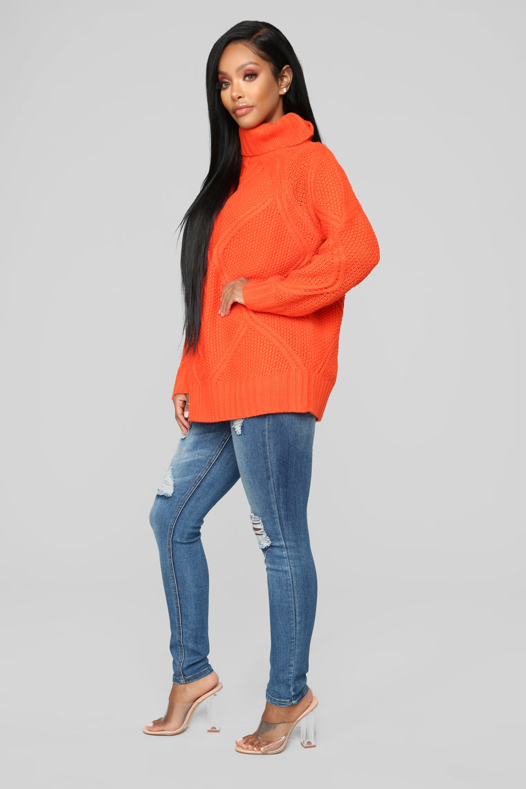 Are You Happy Now Sweater - Orange