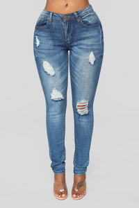 Wear 'Em Down Distressed Jeans - Dark Denim