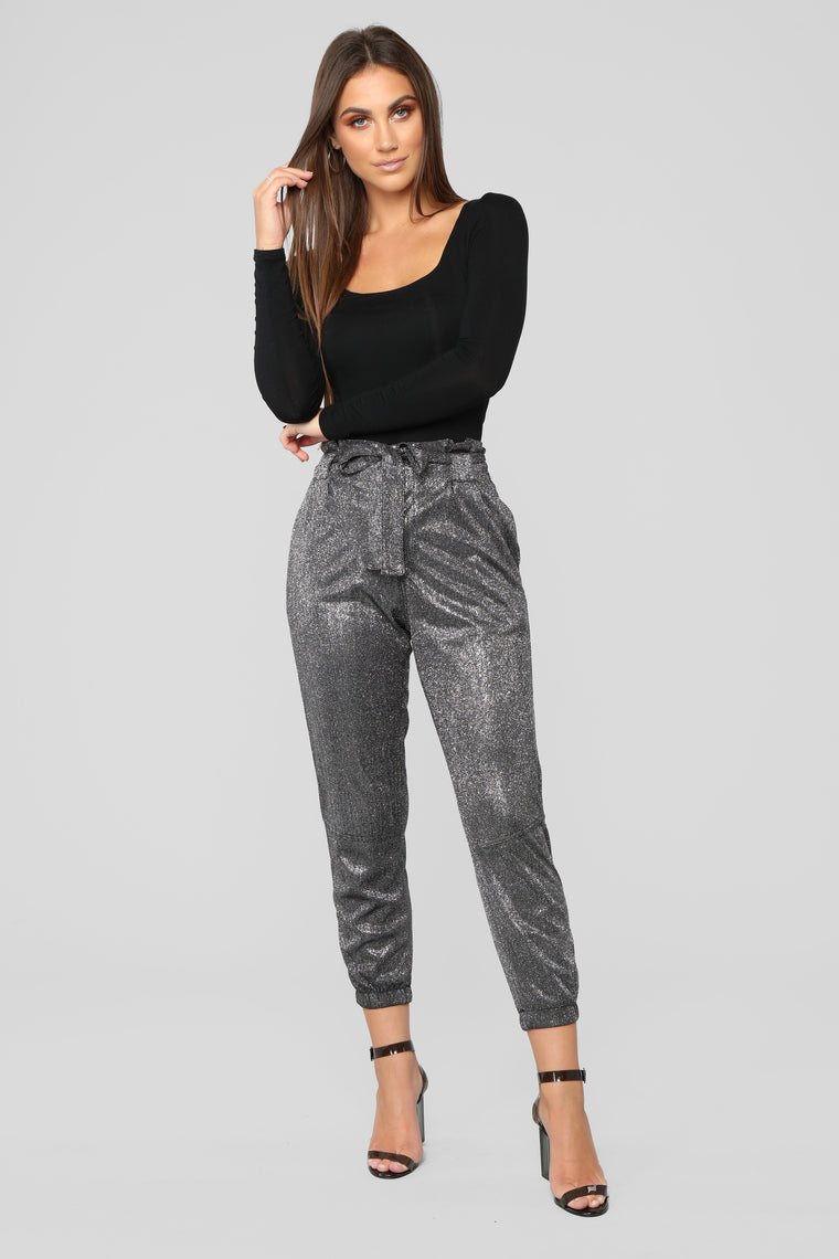 Shine Through Tie Waist Joggers - Silver