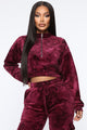 Crushed Feelings Velvet Pullover - Wine