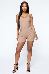 It's Personal Ribbed Romper - Mocha Angle 2