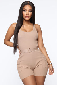 It's Personal Ribbed Romper - Mocha Angle 1
