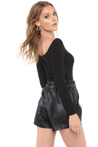 Melinna Long Sleeve Bodysuit - Black