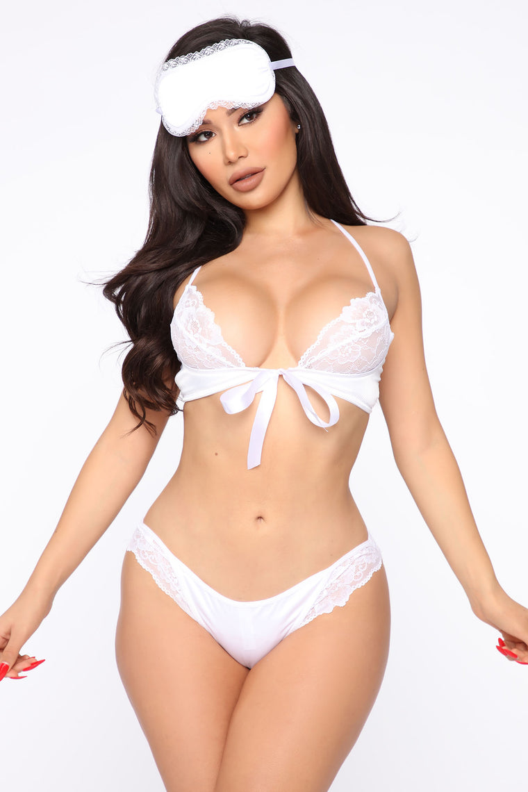 Yours Forever Lace 3 Piece Set   White by Fashion Nova