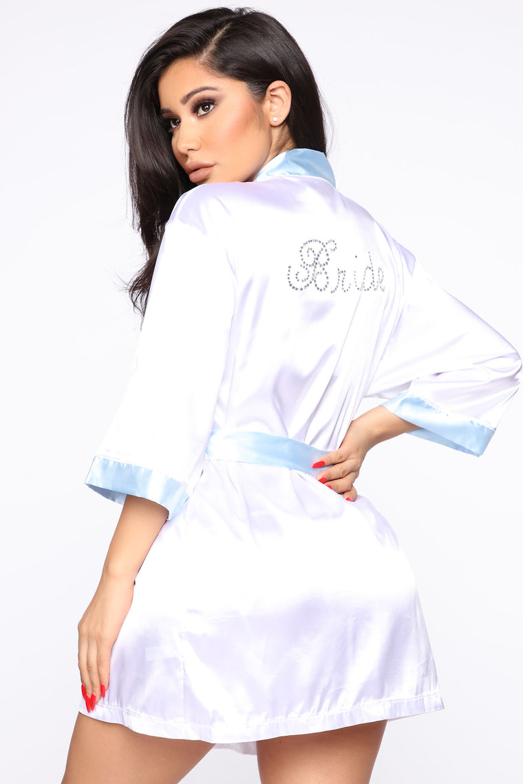 Say I Do Bride Satin Robe   White/Blue by Fashion Nova