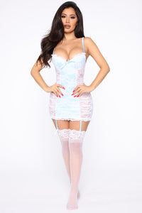 Said Our Vows Lace Garter Chemise - White/Blue Angle 4