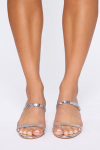 Act Like You Don't Know Heeled Sandals  - Silver Angle 3