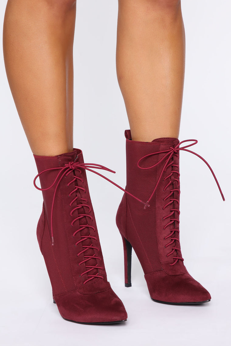 Can't Get Enough Booties   Burgundy by Fashion Nova