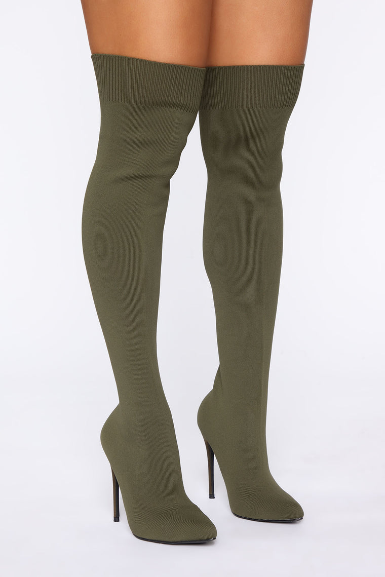 Meant That Heeled Boots   Olive by Fashion Nova