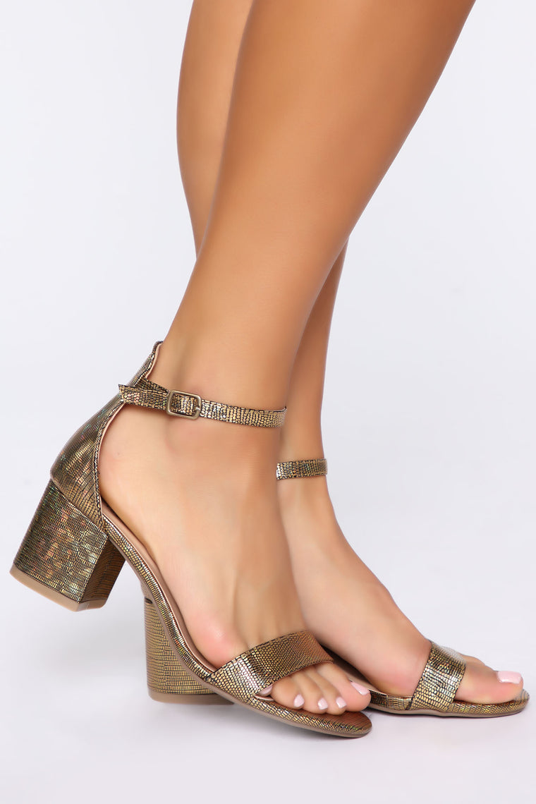 Flaunt It Heeled Sandals - Gold